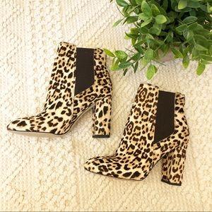 {Sam Edelman} Calf Hair Leopard Print Bootie